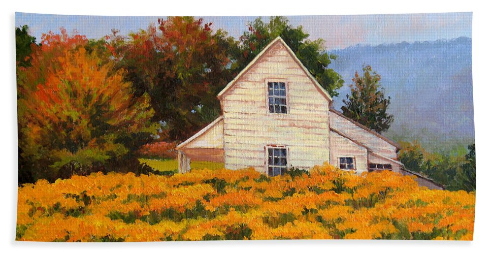 Impressionism Beach Towel featuring the painting Goldenrod Time by Keith Burgess