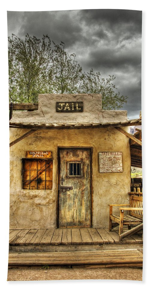Goldfield Ghost Town Beach Towel featuring the photograph Goldfield Ghost Town - Jail by Saija Lehtonen