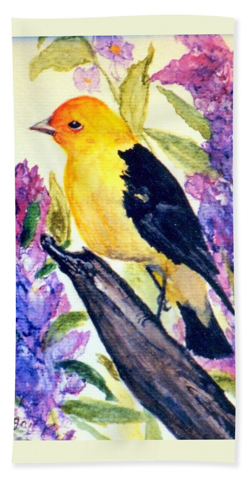 Birds Beach Towel featuring the painting Goldfinch by Gail Kirtz