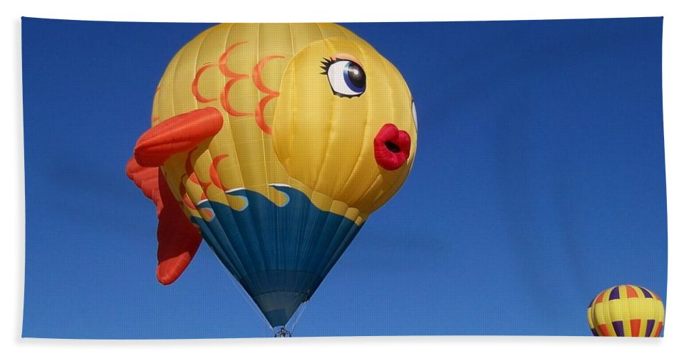 Hot Air Balloon Festival Beach Towel featuring the photograph Goldie The Goldfish by Adrienne Wilson