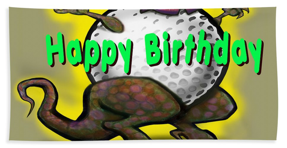 Golf Beach Towel featuring the greeting card Golf A Saurus Birthday by Kevin Middleton
