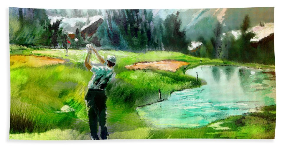 Golf Beach Towel featuring the painting Golf In Crans Sur Sierre Switzerland 01 by Miki De Goodaboom