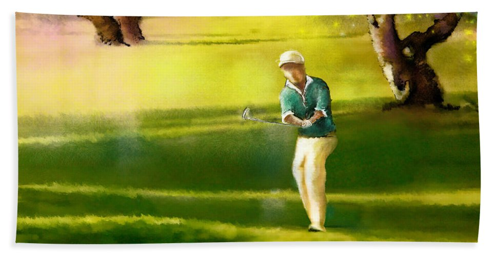 Sports Beach Towel featuring the painting Golf In Spain Castello Masters 02 by Miki De Goodaboom