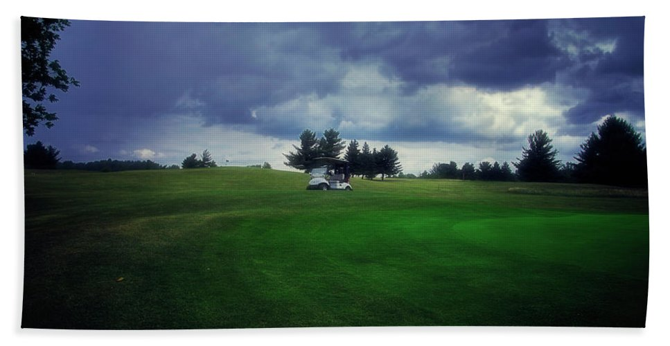Golfing Beach Towel featuring the photograph Golfing Before The Rain Golf Cart 01 by Thomas Woolworth