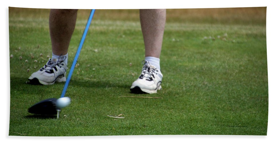 New York Beach Towel featuring the photograph Golfing Driving The Ball In Flight by Thomas Woolworth