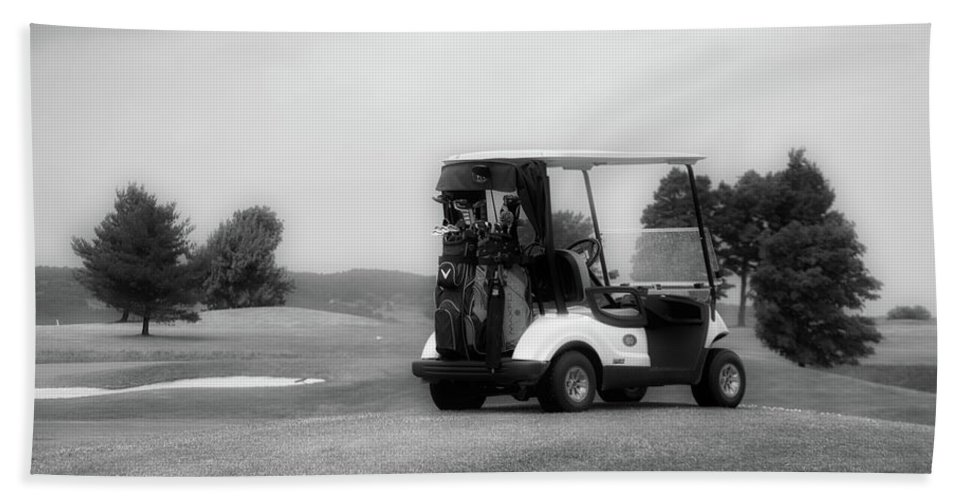 Tully New York Beach Towel featuring the photograph Golfing Golf Cart 06 Bw by Thomas Woolworth