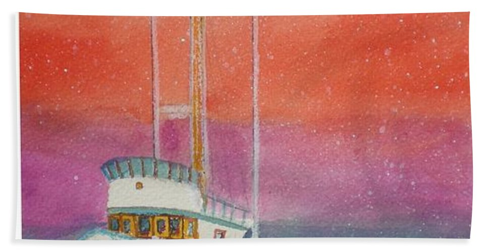 Ocean Beach Towel featuring the painting Gone Fishing At Midnight by Hal Newhouser