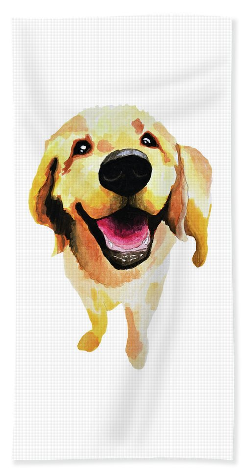 Dog Beach Towel featuring the painting Good Boy by Amy Giacomelli