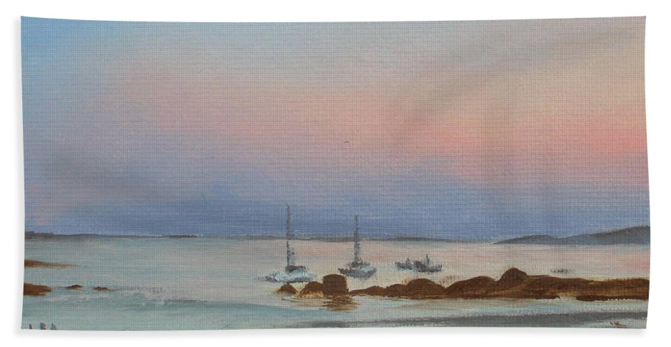 Seascape Beach Towel featuring the painting Good Harbor by Lea Novak