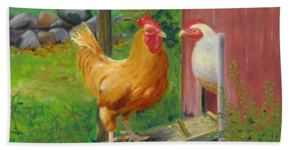 Landscape Beach Towel featuring the painting Good Morning Dudley by Paula Emery