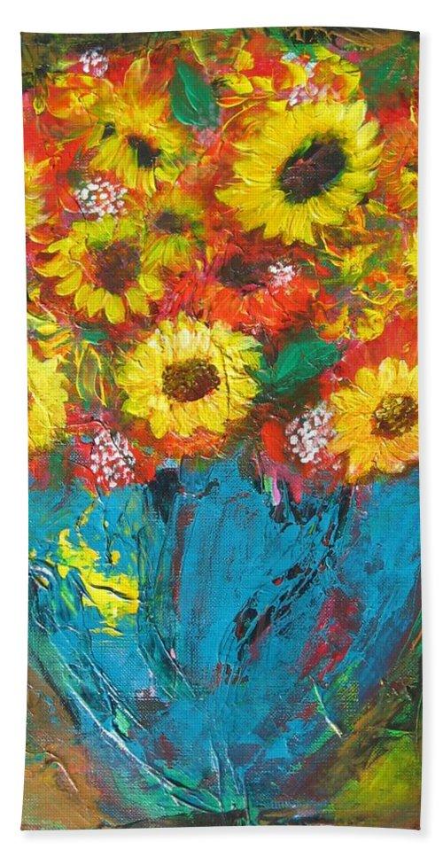 Acrylic Beach Towel featuring the painting Good Morning Sunshine by Maria Watt