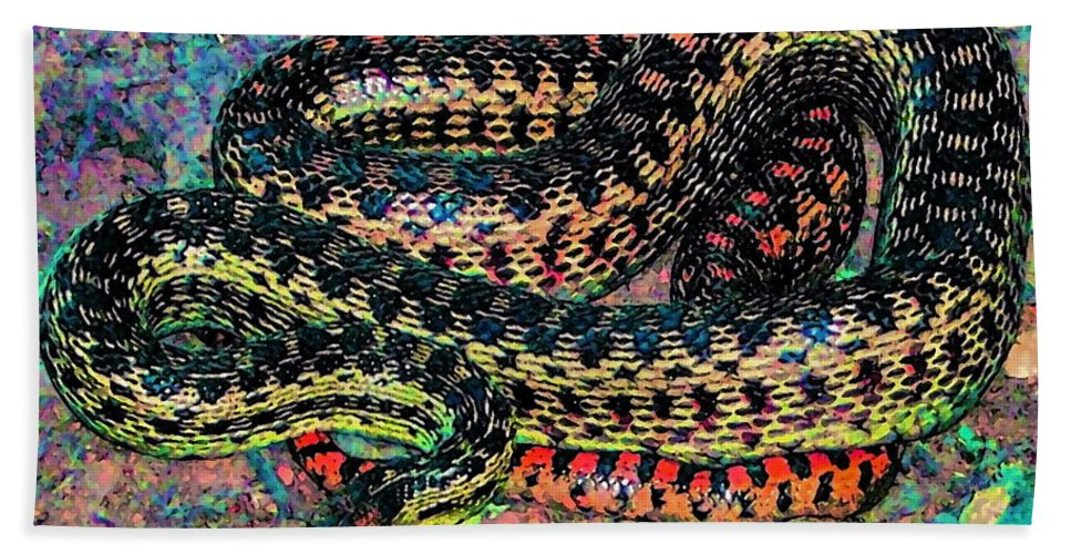 Nature Beach Towel featuring the photograph Gopher Snake by Pamela Cooper