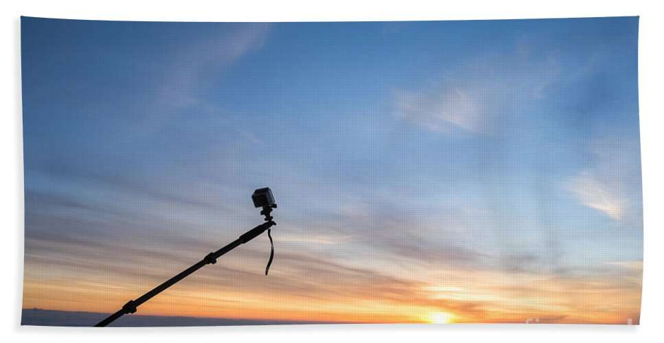 Selfie Beach Towel featuring the photograph Gopro Action Sport Camera On A Boom by Gady Cojocaru