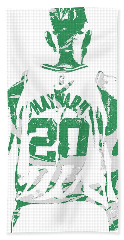 Gordon Hayward Beach Towel featuring the mixed media Gordon Hayward Boston Celtics Pixel Art T Shirt 5 by Joe Hamilton