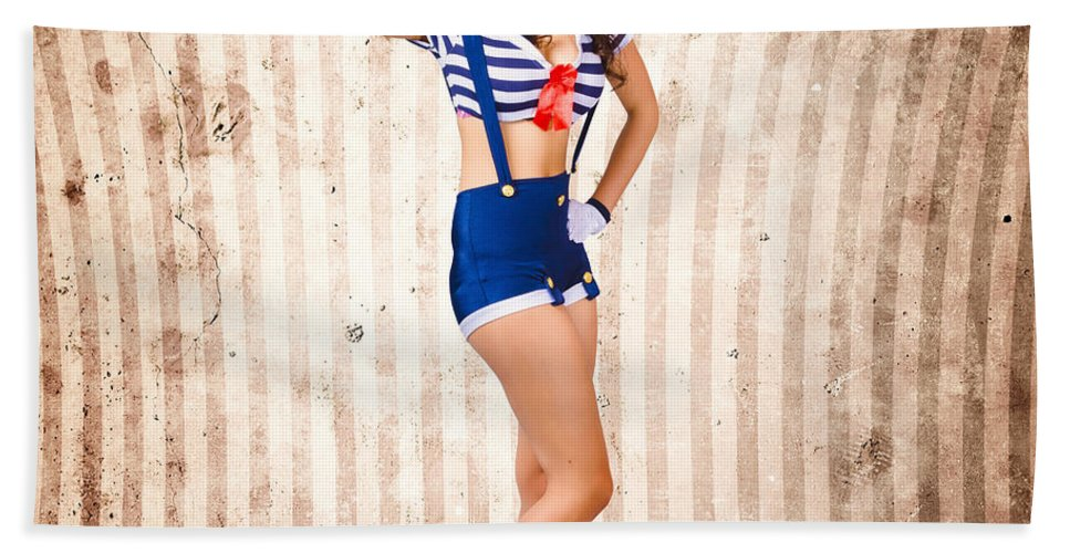 Greeting Beach Towel featuring the photograph Gorgeous Young Retro Pinup Sailor Girl by Jorgo Photography - Wall Art Gallery