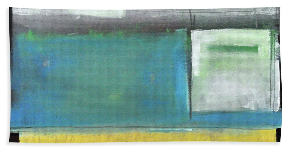 Abstract Beach Towel featuring the painting Gotan Smile by Tim Nyberg