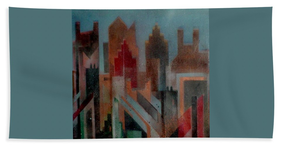 Abstract Beach Towel featuring the painting Gothem City by Anita Burgermeister