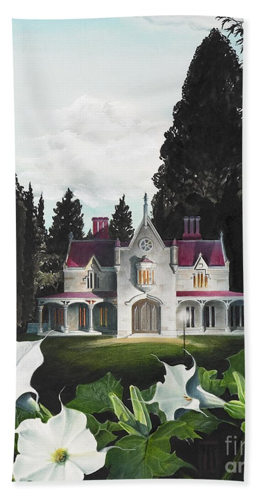 Fantasy Beach Towel featuring the painting Gothic Country House detail from Night Bridge by Melissa A Benson