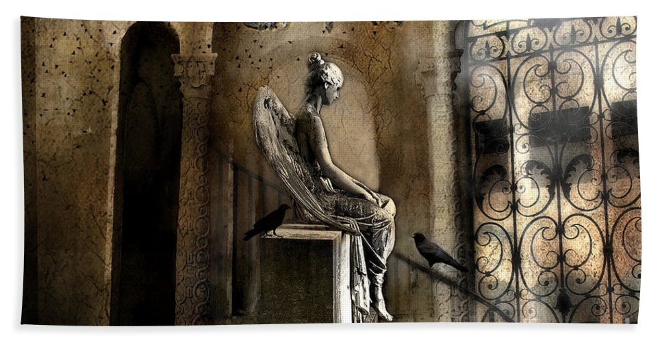 Dark Angels Beach Towel featuring the photograph Gothic Surreal Angel With Gargoyles And Ravens by Kathy Fornal