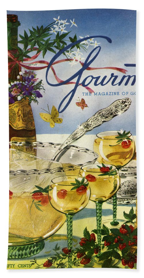 Illustration Beach Sheet featuring the photograph Gourmet Cover Featuring A Bowl And Glasses by Henry Stahlhut