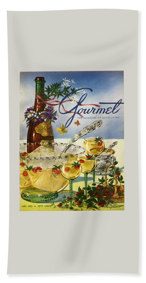 Illustration Beach Towel featuring the photograph Gourmet Cover Featuring A Bowl And Glasses by Henry Stahlhut