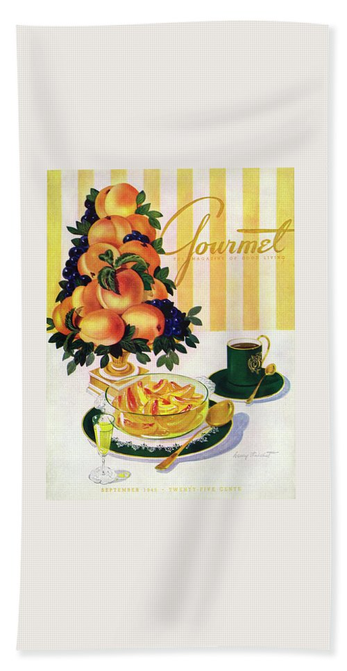 Illustration Beach Towel featuring the photograph Gourmet Cover Featuring A Centerpiece Of Peaches by Henry Stahlhut