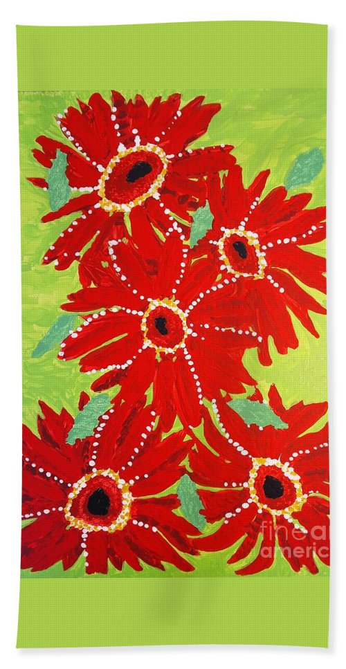 Red Flowers Beach Towel featuring the painting Grace Flowers by Dana Peters-Colley