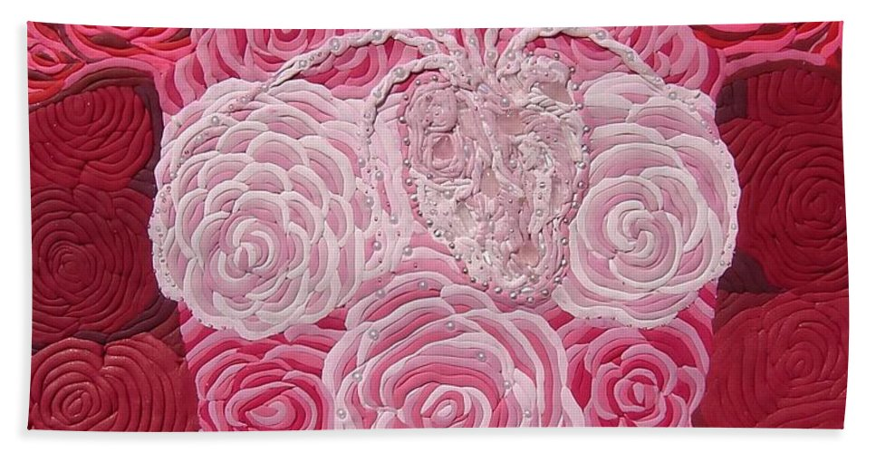 Rose Body Beach Towel featuring the relief Grace Flows by Arla Patch