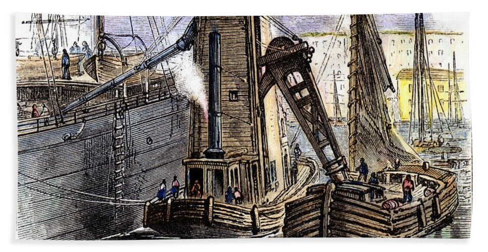 1877 Beach Towel featuring the photograph Grain Elevator, 1877 by Granger