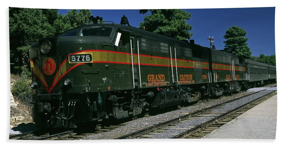 Old Train Running On Track Beach Towel featuring the photograph Grand Canyon Railway Train by Sally Weigand