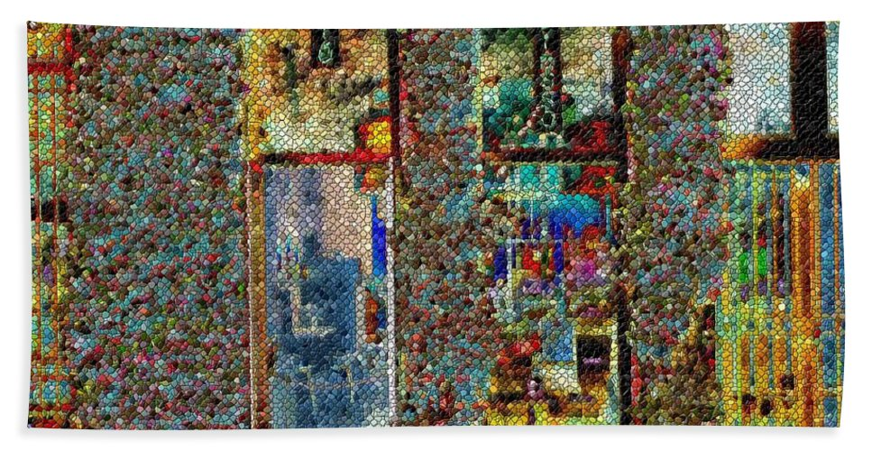 Seattle Beach Towel featuring the digital art Grand Central Bakery Mosaic by Tim Allen