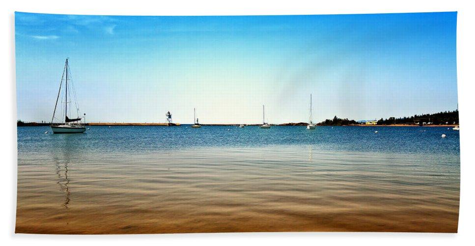 Lake Beach Towel featuring the photograph Grand Marais Harbor by Linda Tiepelman
