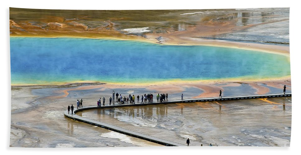 Grand Prismatic Spring Beach Towel featuring the photograph Grand Prismatic Spring by Teresa Zieba