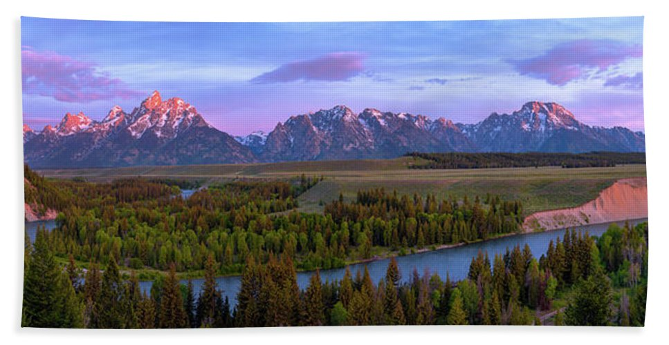 Grand Tetons Beach Towel featuring the photograph Grand Tetons by Chad Dutson