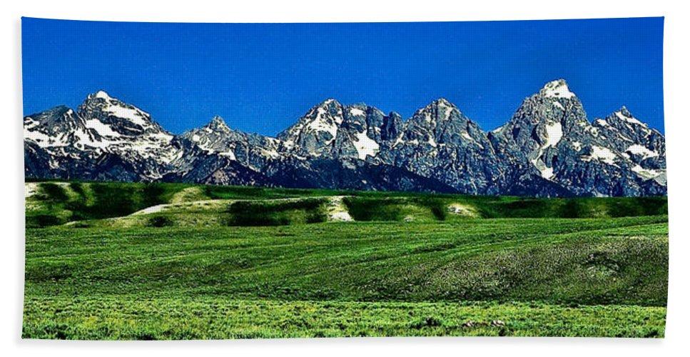 Nature Beach Towel featuring the photograph Grand Tetons by John K Sampson