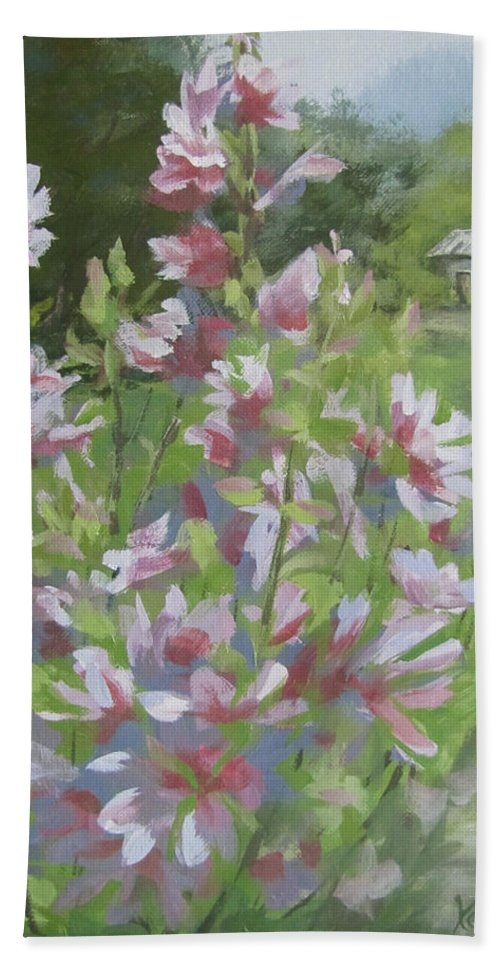 Flowers Beach Towel featuring the painting Grandma's Flowers by Karen Ilari
