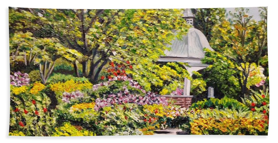 Garden Beach Towel featuring the painting Grandmother's Garden by Richard Nowak
