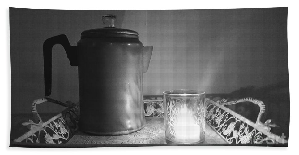 Black-and-white Beach Towel featuring the photograph Grandmothers Vintage Coffee Pot by Rachel Hannah