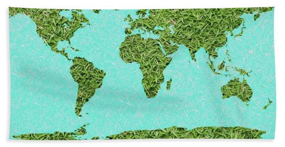 Grass World Map Beach Towel featuring the digital art Grass World Map by Dan Sproul