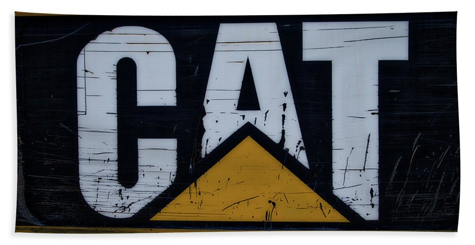 Gravel Pit Beach Towel featuring the photograph Gravel Pit Cat Signage Hydraulic Excavator by Thomas Woolworth
