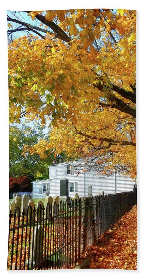Autumn Beach Towel featuring the photograph Graveyard In Autumn by Susan Savad