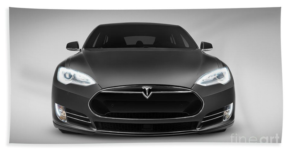 Tesla Beach Towel featuring the photograph Gray Tesla Model S Luxury Electric Car Front View by Maxim Images Prints