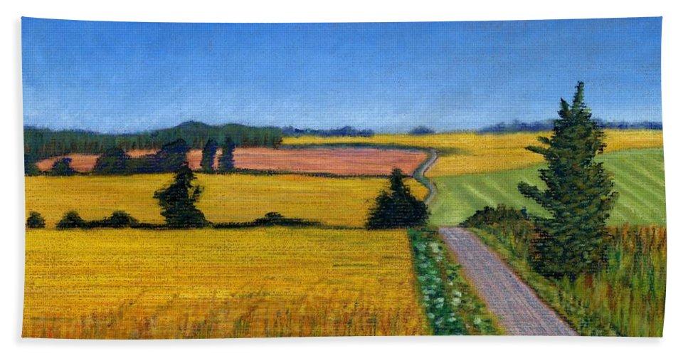Great Bedwyn Beach Towel featuring the pastel Great Bedwyn Wheat Fields Painting by Edward McNaught-Davis