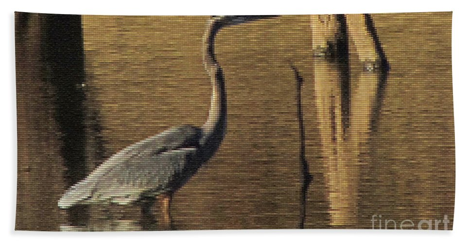 Bird Beach Towel featuring the digital art Great Blue Heron by Donna Brown