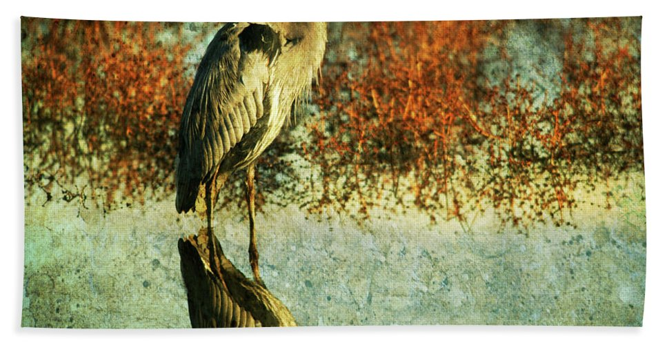 Beach Towel featuring the photograph Great Blue Heron by Guy Crittenden
