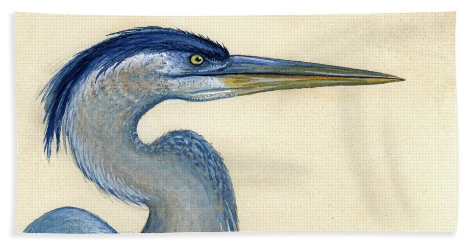 Great Beach Towel featuring the painting Great Blue Heron Portrait by Charles Harden