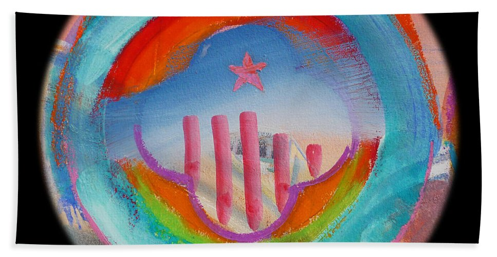 Beach Towel featuring the painting Great Blue Morning by Charles Stuart