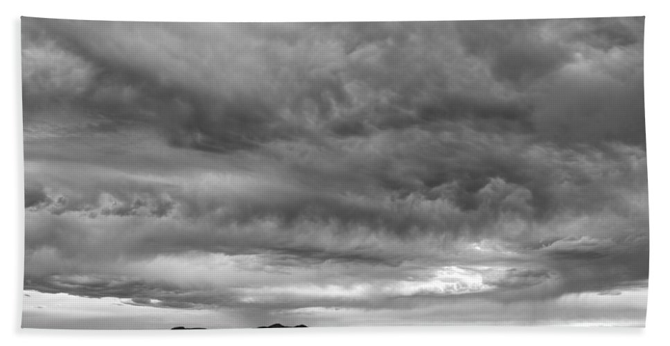 Great Salt Lake Beach Towel featuring the photograph Great Salt Lake Clouds At Sunset - Black And White by Gary Whitton