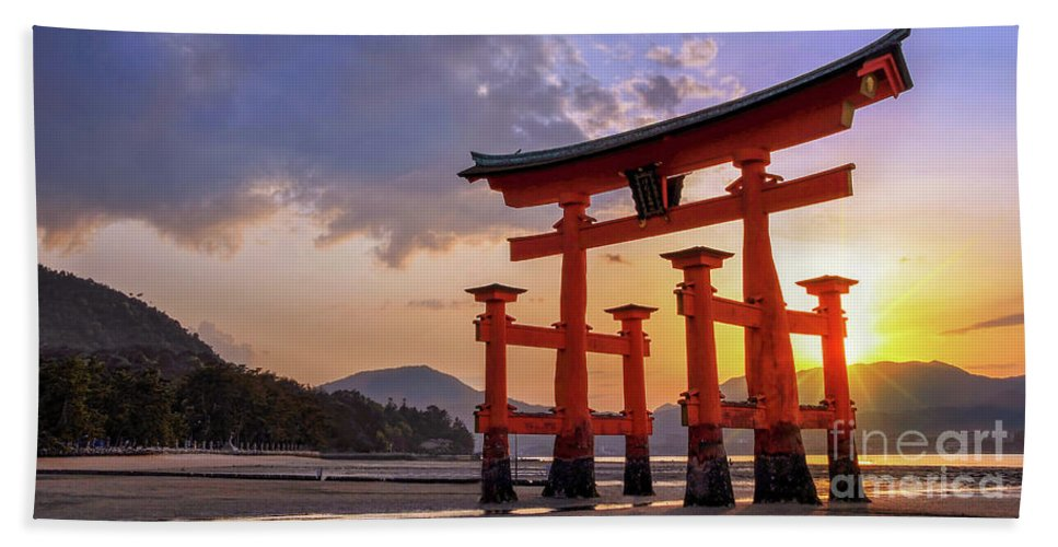 Japan Beach Towel featuring the photograph Great Torii Of Miyajima At Sunset by Delphimages Photo Creations