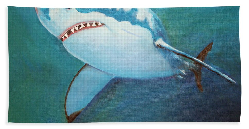 Great White Beach Towel featuring the painting Great White 3 by Terry Lewey